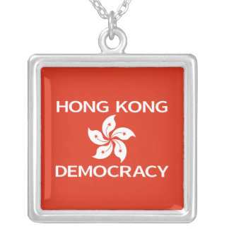 Democracy Hong Kong Orchid Flag Square Pendant Necklace