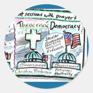 Democracy over Theocracy Classic Round Sticker