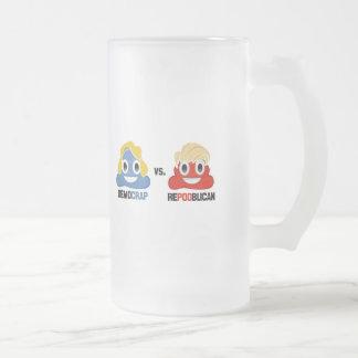 Democrap vs. Repooblican Frosted Glass Beer Mug