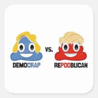 Democrap vs. Repooblican Square Sticker