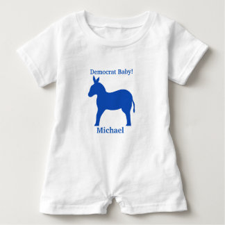 Democrat Baby Blue Donkey Name Personalized Infant Romper