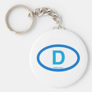 Democrat Basic Round Button Keychain