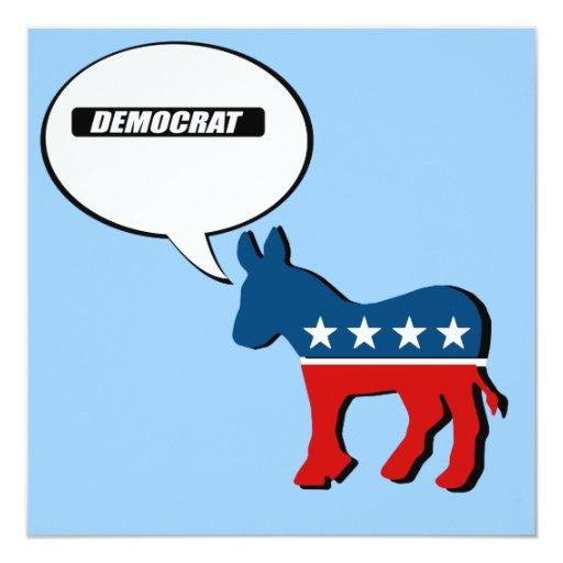 Democrat Block white 5.25x5.25 Square Paper Invitation Card