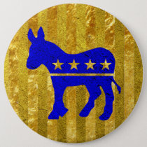 Democrat Donkey Blue Gold Pinback Button