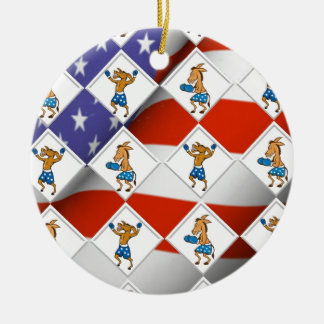 Democrat Donkey Boxer Ceramic Ornament