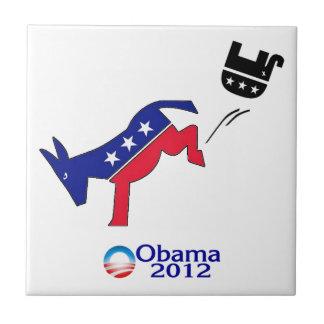 Democrat Donkey Kicking Republican Elephant Tile