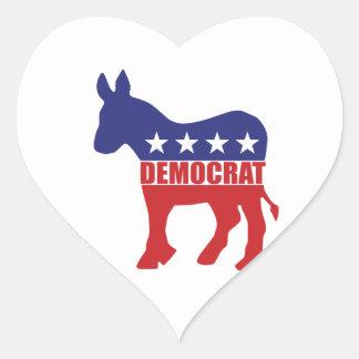 Democrat Donkey Logo Heart Sticker