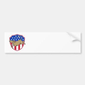 Democrat Donkey Mascot American Flag Bumper Sticker