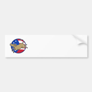 Democrat Donkey Mascot American Flag Bumper Stickers