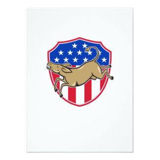 Democrat Donkey Mascot American Flag 5.5x7.5 Paper Invitation Card