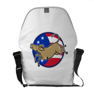 Democrat Donkey Mascot American Flag Messenger Bags