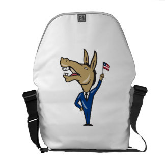 Democrat Donkey Mascot American Flag Courier Bags