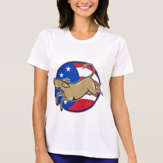 Democrat Donkey Mascot American Flag Tee Shirt