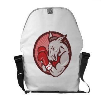 Democrat Donkey Mascot Boxer Boxing Retro Courier Bag