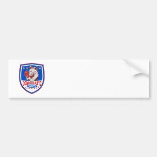 Democrat Donkey Mascot Boxer Shield Bumper Stickers