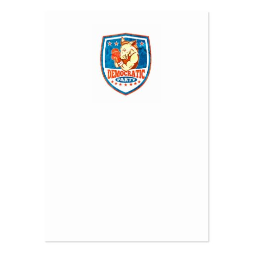 Democrat Donkey Mascot Boxer Shield Business Card Template