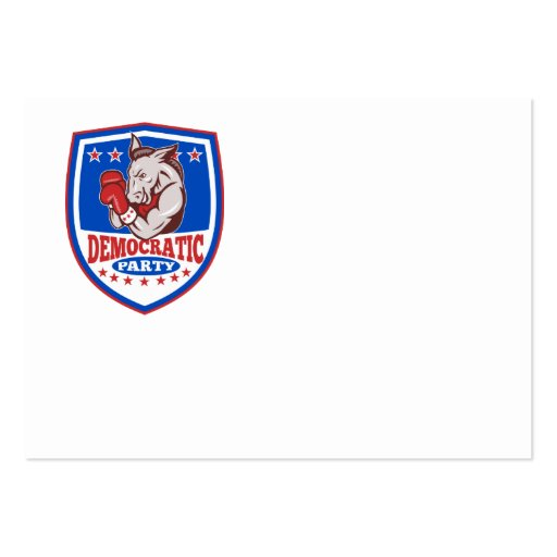 Democrat Donkey Mascot Boxer Shield Business Card Templates