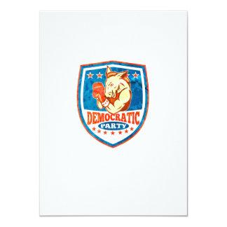 Democrat Donkey Mascot Boxer Shield Announcement