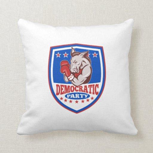Democrat Donkey Mascot Boxer Shield Throw Pillow