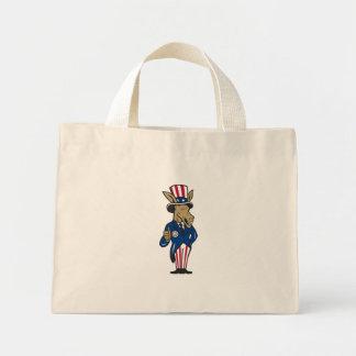 Democrat Donkey Mascot Thumbs Up Flag Tote Bags
