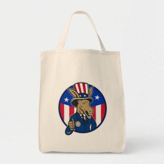 Democrat Donkey Mascot Thumbs Up Flag Tote Bag