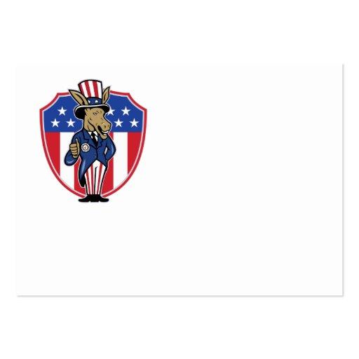 Democrat Donkey Mascot Thumbs Up Flag Business Cards