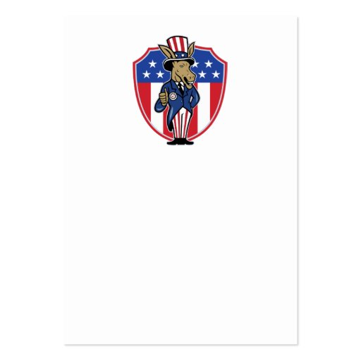 Democrat Donkey Mascot Thumbs Up Flag Business Card Template