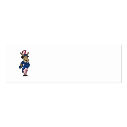 Democrat Donkey Mascot Thumbs Up Flag Business Card Templates