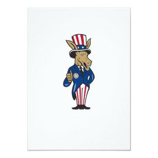 Democrat Donkey Mascot Thumbs Up Flag Invitation