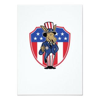Democrat Donkey Mascot Thumbs Up Flag 4.5x6.25 Paper Invitation Card