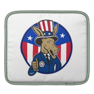 Democrat Donkey Mascot Thumbs Up Flag iPad Sleeves