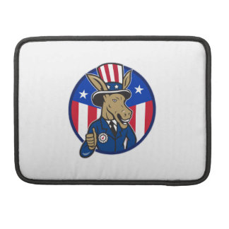 Democrat Donkey Mascot Thumbs Up Flag Sleeve For MacBook Pro