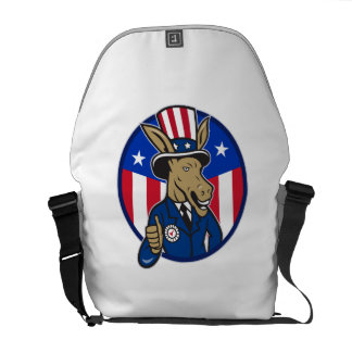Democrat Donkey Mascot Thumbs Up Flag Messenger Bags