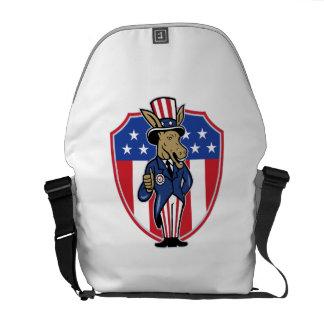 Democrat Donkey Mascot Thumbs Up Flag Messenger Bag