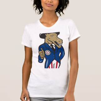 Democrat Donkey Mascot Thumbs Up Flag T-shirt