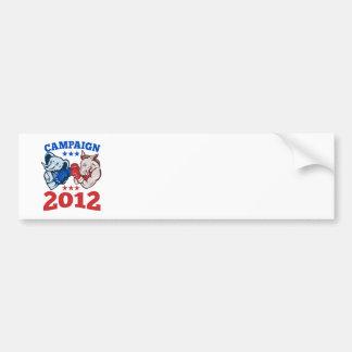 Democrat Donkey Republican Elephant Campaign 2012 Bumper Sticker