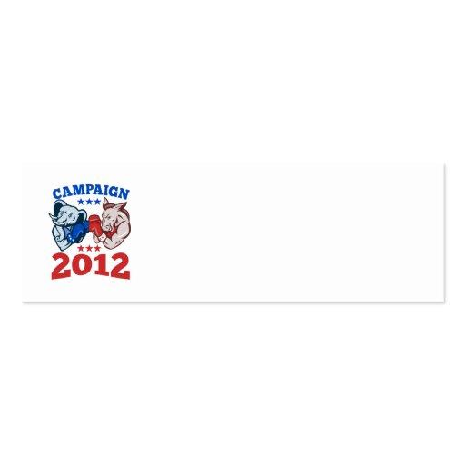 Democrat Donkey Republican Elephant Campaign 2012 Business Card Templates