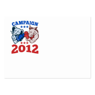Democrat Donkey Republican Elephant Campaign 2012 Large Business Cards (Pack Of 100)