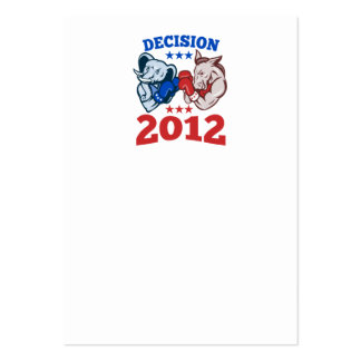 Democrat Donkey Republican Elephant Decision 2012 Large Business Cards (Pack Of 100)