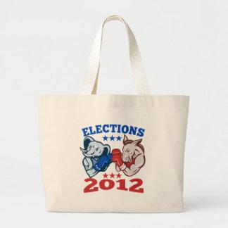 Democrat Donkey Republican Elephant Mascot 2012 Canvas Bags