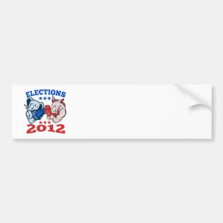 Democrat Donkey Republican Elephant Mascot 2012 Bumper Sticker