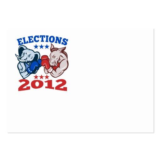 Democrat Donkey Republican Elephant Mascot 2012 Business Card