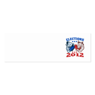 Democrat Donkey Republican Elephant Mascot 2012 Double-Sided Mini Business Cards (Pack Of 20)