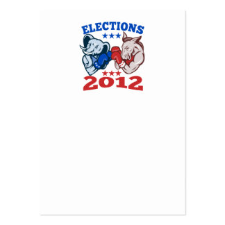 Democrat Donkey Republican Elephant Mascot 2012 Large Business Cards (Pack Of 100)