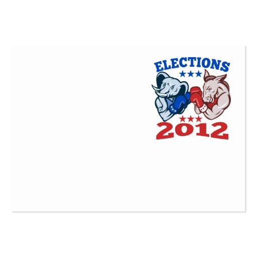 Democrat Donkey Republican Elephant Mascot 2012 Business Card Template