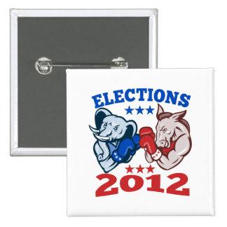 Democrat Donkey Republican Elephant Mascot 2012 2 Inch Square Button