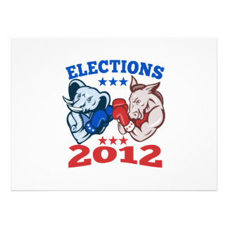 Democrat Donkey Republican Elephant Mascot 2012 Invite