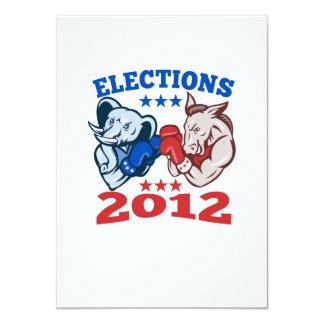 Democrat Donkey Republican Elephant Mascot 2012 Personalized Announcements