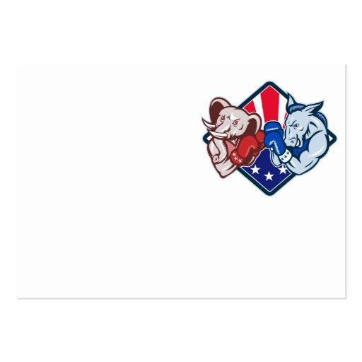 Democrat Donkey Republican Elephant Mascot Boxing Business Card