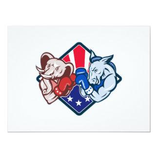 "Democrat Donkey Republican Elephant Mascot Boxing 6.5"" X 8.75"" Invitation Card"